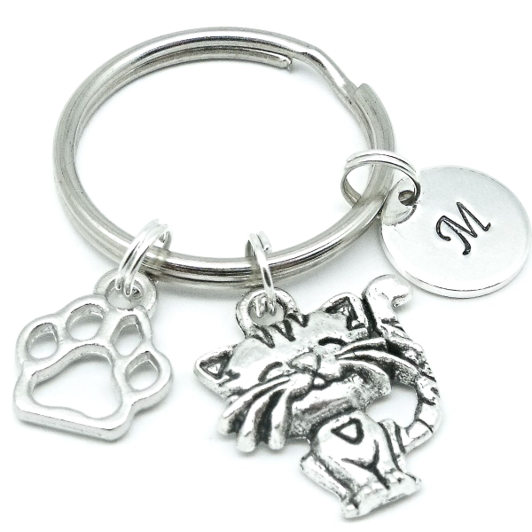 Cute cat charm keyring gift personalised